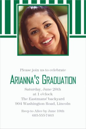 Custom Festive Green Stripe Photo Invitations