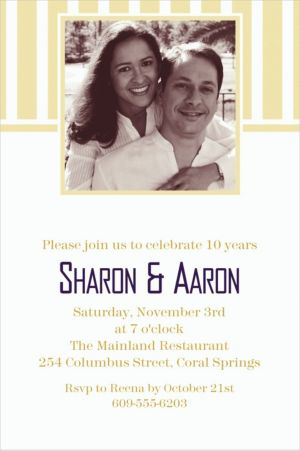 Custom Vanilla Stripe Photo Invitations
