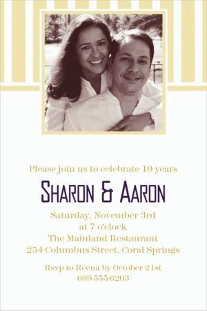 Custom Vanilla Stripe Photo Invitations