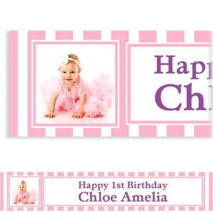 Custom Pink Stripe Photo Banner 6ft