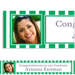 Custom Festive Green Stripe Photo Banner 6ft