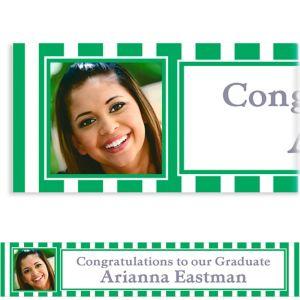 Custom Festive Green Stripe Photo Banner 6ft