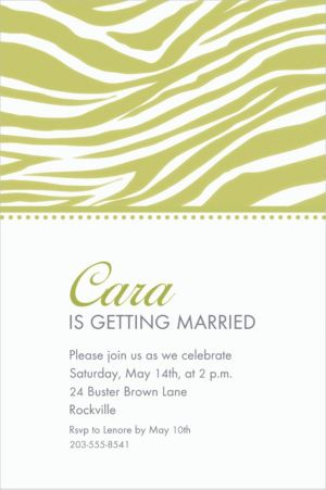 Custom Leaf Green Zebra Invitations