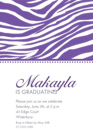 Custom Purple Zebra Invitations