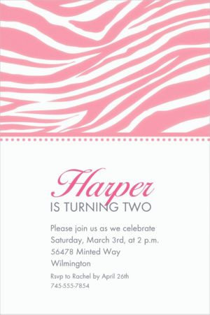 Custom Pink Zebra Invitations