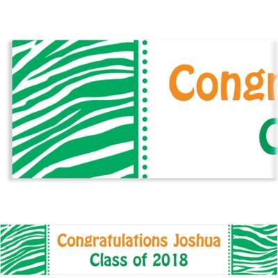 Festive Green Zebra Custom Banner