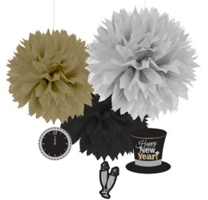 Sparkling New Year's Fluffy Decorations 3ct
