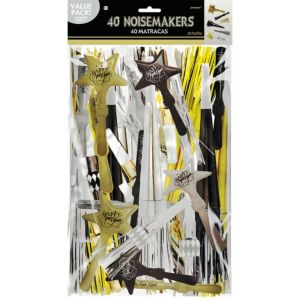 Black, Gold & Silver New Year's Noisemakers 40ct