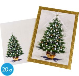 Gold Border Christmas Tree Greeting Cards 20ct