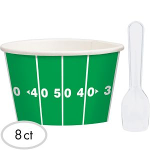 Football Ice Cream Cups with Spoons 8ct