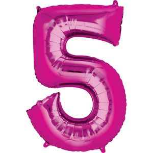 Number 5 Balloon - Bright Pink