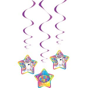 Lisa Frank Rainbow Horse Swirl Decorations 3ct