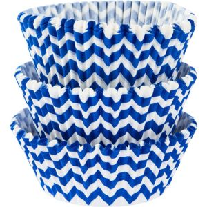 Royal Blue Chevron Baking Cups 75ct
