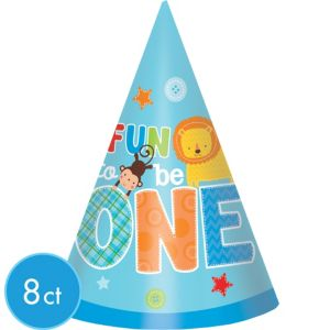 Wild at One Boy's 1st Birthday Party Hats 8ct