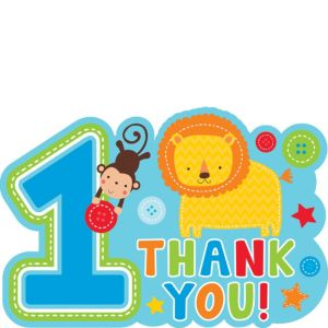 Wild at One Boy's 1st Birthday Thank You Notes 8ct