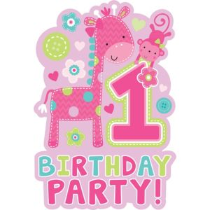 Wild at One Girl's 1st Birthday Invitations 8ct