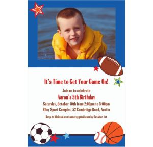 Custom Play Ball Party Photo Invitations