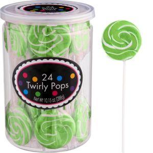 Kiwi Green Swirly Lollipops 24pc