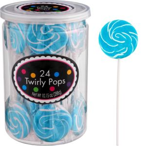 Caribbean Blue Swirly Lollipops 24pc