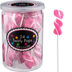 Twirly Bright Pink Lollipops 24pc
