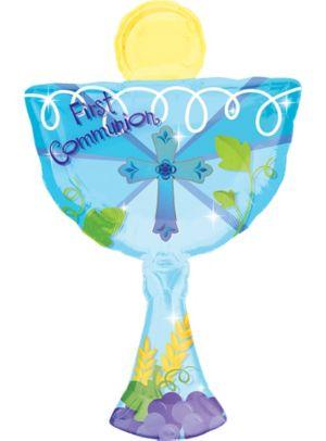 First Communion Balloon - Blue Chalice
