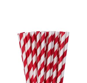 Red Striped Paper Straws 24ct