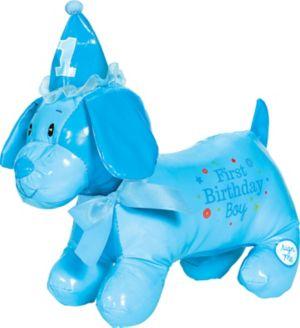 Blue 1st Birthday Autograph Dog Plush