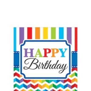 Rainbow Chevron Birthday Beverage Napkins 16ct