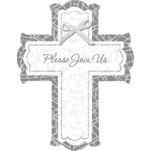White Stained Glass Religious Invitations 8ct