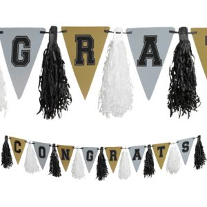 Black, Gold & Silver Tassel Garland