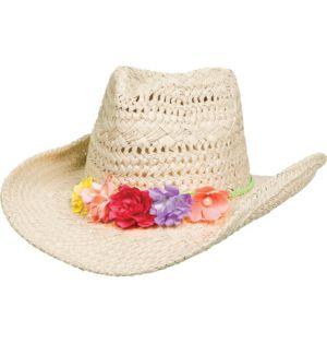 Floral Trim Straw Cowboy Hat