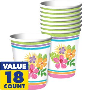 Colorful Hibiscus Paper Cups 18ct