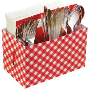 Picnic Party Red Gingham Paper Utensil Caddy