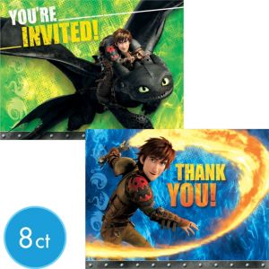 How to Train Your Dragon Invitations & Thank You Notes for 8