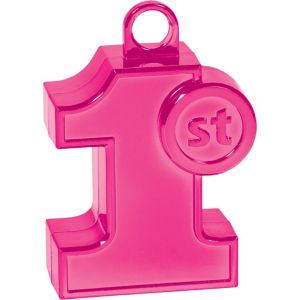 Pink 1st Birthday Balloon Weight