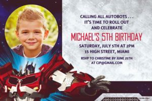 Custom Transformers Photo Invitations