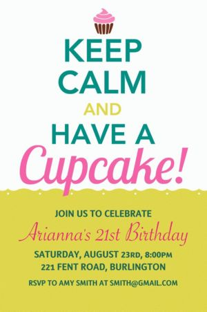 Custom Keep Calm Cupcake Invitations