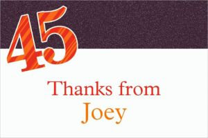 Custom Big Celebration 45 Thank You Notes