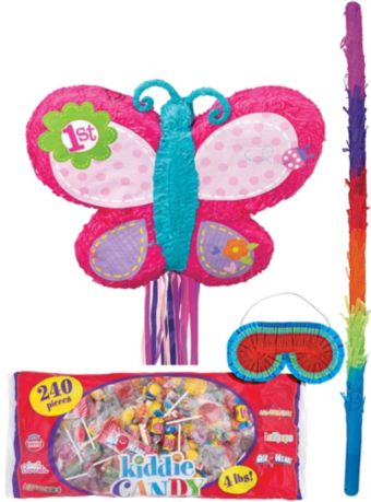 Pull String 1st Birthday Butterfly Pinata Kit