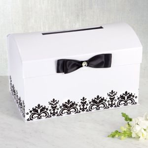 White Wedding Card Holder Box with Black Bow