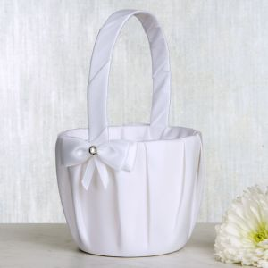 White Bow Flower Girl Basket