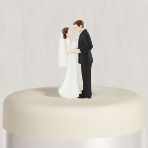 Brunette Bride & Groom Wedding Cake Topper