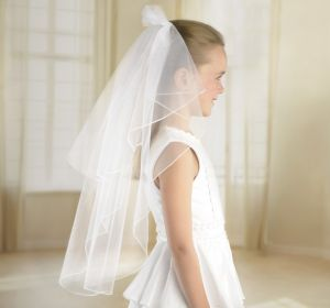 Girls White Double Layer Veil 24in