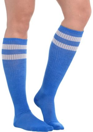 Blue Stripe Athletic Knee-High Socks