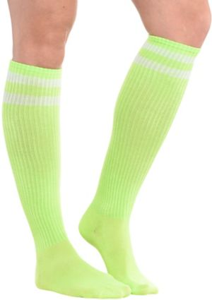 Neon Yellow Stripe Athletic Knee-High Socks
