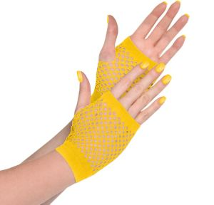 Yellow Fishnet Glovelettes
