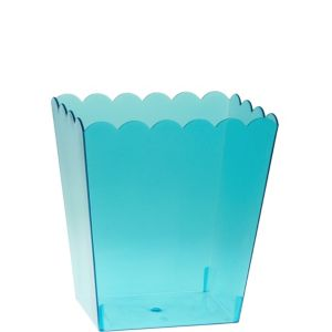 Small Caribbean Blue Plastic Scalloped Container