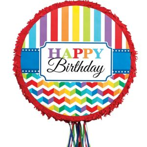 Pull String Rainbow Chevron Birthday Pinata