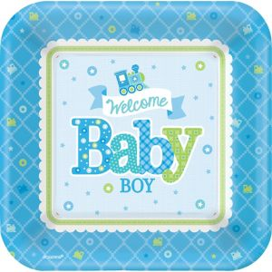Welcome Baby Boy Baby Shower Dinner Plates 8ct
