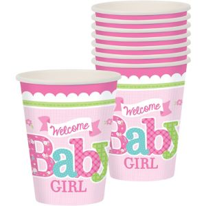Welcome Baby Girl Baby Shower Cups 8ct